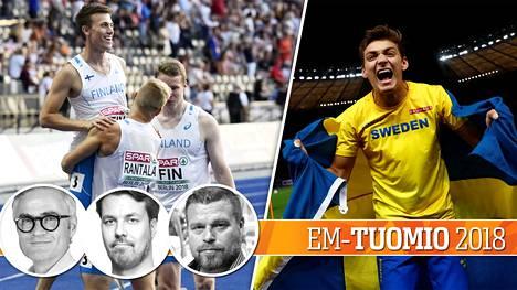 Suomen pikaviestijoukkue sijoittui komeasti kuudenneksi. Ruotsin ihmepoika Armand Duplantis varasti sen sijaan ansaitusti koko sunnuntain EM-show'n.