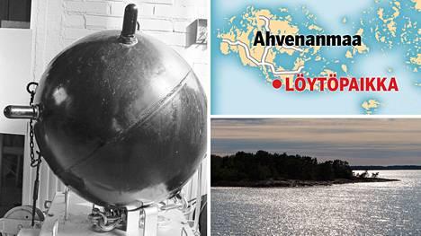 Sarvimiina löytyi Rödhamnsfjärdeniltä Ahvenanmaan saaristosta. Kuvituskuvassa sarvimiina vuodelta 1943. Kuvan miina ei liity tapaukseen.