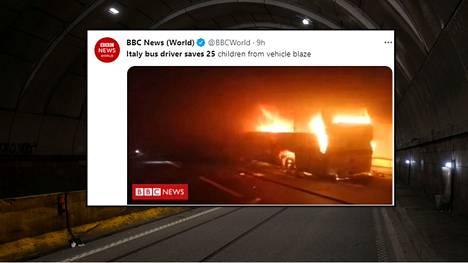 Koululaisia kuljettanut linja-auto syttyi tuleen maantietunnelissa Italiassa.