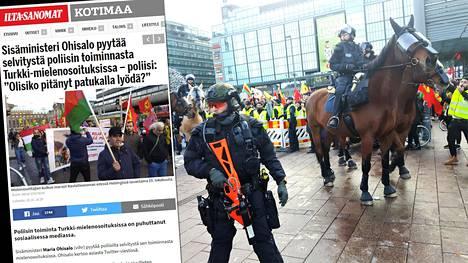 Poliisin toiminta lauantain mielenilmauksen yhteydessä on johtamassa selvitykseen.