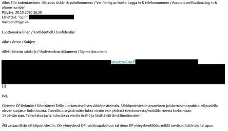 Esimerkki huijausviestistä. Huomaa, että lähettäjäksi on merkitty op.fi.