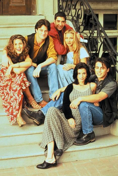 Tältä Frendien porukka näytti sarjan alkuaikoina. Kuvassa vasemmalta Jennifer Aniston, Matthew Perry, David Schwimmer, Lisa Kudrow, Courteney Cox ja Matt LeBlanc.