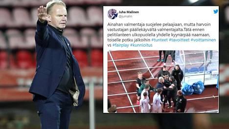 Juha Malinen meni väliin, kun Itävallan valmentaja yritti käydä hänen pelaajiinsa kiinni.