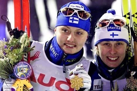 Sprintin kultaa ja hopeaa MM-Lahdessa 2001: Pirjo Manninen (vas.) ja Kati Sundqvist olivat nopeimmat.