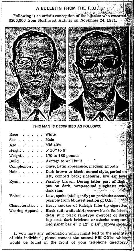 Näillä tuntomerkeillä FBI etsi Dan Cooperia.