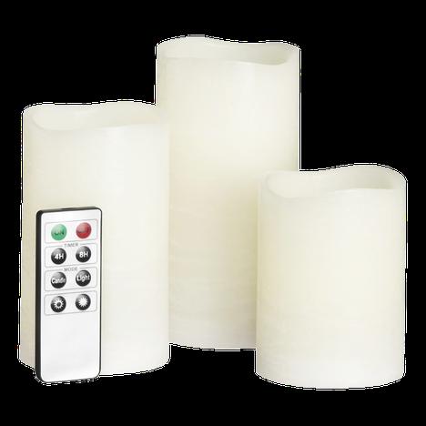 Led-kynttilä on trendituote. Kotikullan led-kynttilöitä myy Tokmanni. 19,95 euroa, kolme kappaletta.