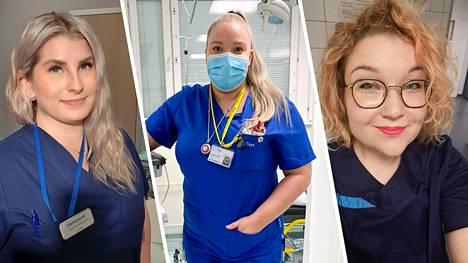 Ilta-Sanomien haastattelemat sairaanhoitajat eivät maalanneet erityisen ruusuista kuvaa sairaanhoitotyön nykytilasta. Vasemmalta oikealle Mira Ojaranta, Iines Rintaniemi ja Anne Pauna.
