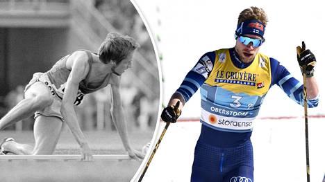 Lasse Virén (vas.) kaatui Münchenissä 1972. Joni Mäki (oik.) kompuroi Oberstdorfissa lähes 50 vuotta myöhemmin.