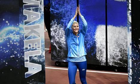 Kristiina Mäkelä on urallaan loikkinut niin EM-, MM- kuin olympiafinaalissakin. Kuva viime kesän Dohan MM-kisojen loppukilpailusta.