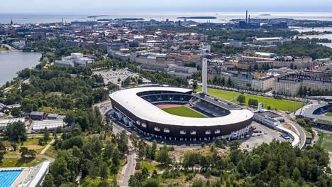 Olympiastadion ilmasta kuvattuna 29. kesäkuuta 2020.