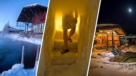 Kuvassa Artic Sauna World (oikealla), Arctic SnowHotel & Glass Igloosin lumisauna ja Kiilopään savusauna.