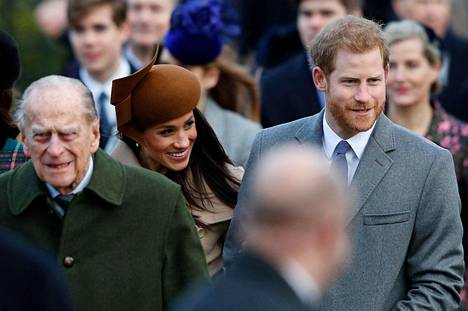 Harry ja Meghan asuvat nykyään Yhdysvalloissa. Kuva otettu kuninkaallisen perheen joulunvietosta joulukuussa 2017.