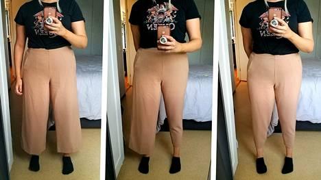 Vaatteiden erilaiset mallit korostavat vartalon muotoa eri tavoin.