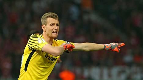 Lukas Hradecky torjui Eintracht Frankfurtin Saksan cupin voittoon viime viikonloppuna.