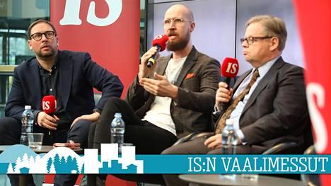 Juhana Vartiainen (kok), Paavo Arhinmäki (vas) ja Touko Aalto (vihr) väittelivät IS:n vaalimessuilla Sipilän hallituksen talouspolitiikasta.
