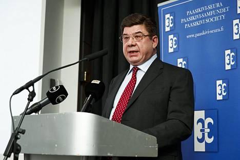 Venäjän suurlähettiläs Pavel Kuznetsov puhui Paasikivi-seurassa tiistaina.