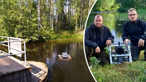 Arto ja Antti Suanto löysivät Jussi Peltolan ajaman auton joen pohjalta Antin rakentaman pienoissukellusveneen avulla.
