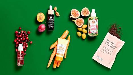 Elintarviketeollisuuden jämätuotteita käytetään kosmetiikassa hyödyksi monin eri tavoin. Esimerkiksi ulkomuotonsa puolesta myyntiin kelpaamattomat vihannekset ja hedelmät sekä elintarviketuotannon sivuvirtana syntyvät öljyt ja muut uutteet käyvät seerumeihin ja naamioihin.