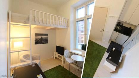 Tämä 11 neliön tilaihme sijaitsee Hämeenlinnassa. Pikkukotiin mahtuu jopa pieni keittiö.