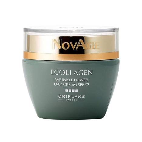 Oriflamen Novage Ecollagen Wrinkle Power -sarjan päivävoiteen tehoaineina on kolmea erilaista peptidiä, ja myös suojakerroin 30, 44 €.