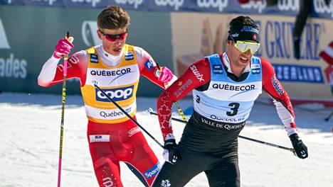 Hiihtotähtien kuten Alex Harveyn (oik.) ja Johannes Hösflot Kläbon taistelut maailmancupissa näkyvät syksystä 2021 eteenpäin vain maksukanavilla.