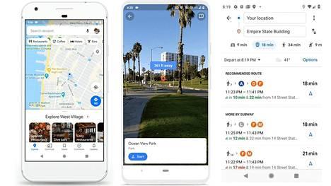 Google Mapsissa uudistuvat päänäkymä (vasemmalla), Live view -tila (keskellä) ja julkisen liikenteen käyttöön tarjotaan lisää tietoa.