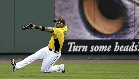 Baseball-joukkue Pittsburgh Piratesin Jose Tabata näytti osaamistaan kautta valmistavassa ottelussa Bradentonissa Floridassa.