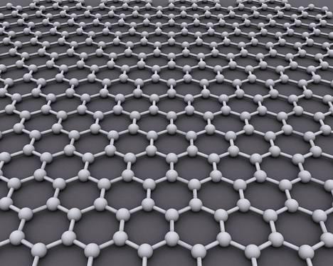 Grafeenin rakenne kostuu yhdestä kerroksesta toisiinsa tiukasti sitoutuneita hiiliatomeja.