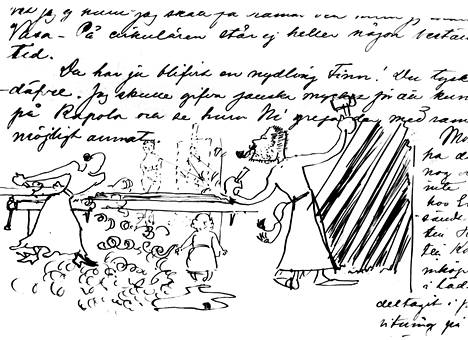 Louis Sparre kuvasi perheen elämää Ruoveden Kalelassa toukokuussa 1894: Kuvassa Mary, Axel ja Marjatta puutöissä. Vain vuotta myöhemmin Marjatta kuoli.