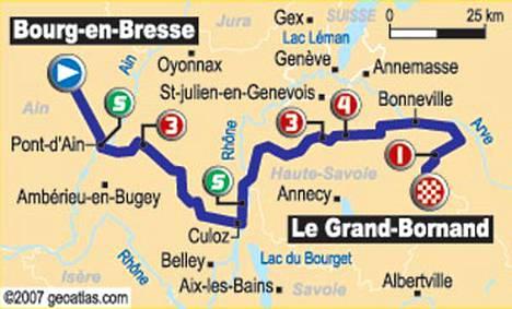 Lauantaina ajetaan seitsemäs etappi Bourg-en-Bressesta Le Grand-Bornandiin.