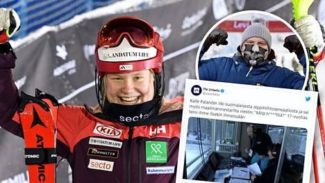Kalle Palander iloitsi Rosa Pohjolaisen suorituksesta Levin pujottelukisassa.