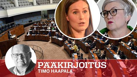Eduskunnan puhemies Anu Vehviläinen (ylh. oik.) ilmoitti, että eduskuntaa ei kutsuta koolle. Pääministeri Sanna Marin olisi ollut valmis.