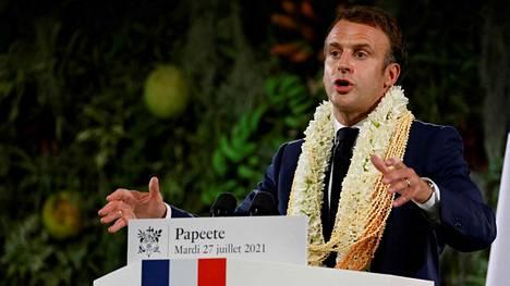 Presidentti Emmanuel Macron piti puheen Ranskan Polynesiassa 27. heinäkuuta 2021.