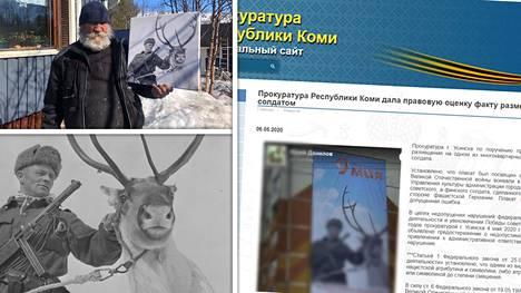 """Utsjokelaisen Johannes Halosen Jouni-isästä jatkuu kohu Venäjällä. Komin syyttäjänvirasto on sumentanut tiedotteessaan julisteen kuvan ilmeisesti siksi, että se itse ei tulisi levittäneeksi väittämäänsä """"natsisymboliikkaa""""."""