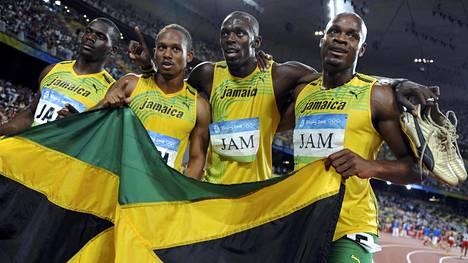 Jamaikan olympiaviestijoukkue Pekingin olympialaisissa.