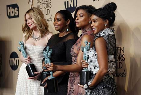 Hidden Figures - varjoon jääneet -sarjan näyttelijät Kirsten Dunst, Octavia Spencer, Taraji P. Henson ja Janelle Monae.