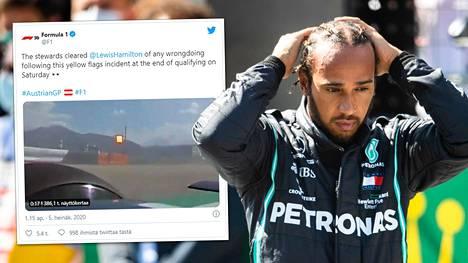 F1:n virallisten tilin Twitter-video johti Lewis Hamiltonin rangaistukseen.