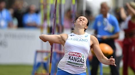 Jenni Kangas heitti ennätyksensä keihään karsinnassa.