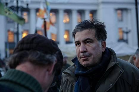 Mihail Saakashvili mielenosoituksessa Kiovassa keskiviikkona.