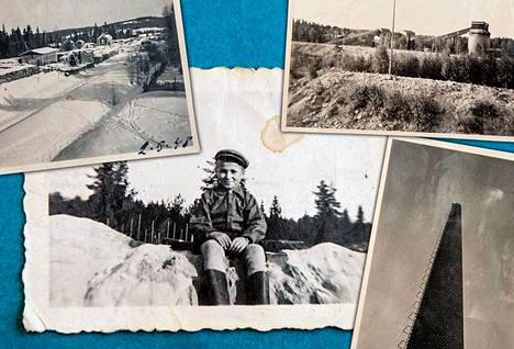 Vanhoja kuvia kaivoksesta ja kylästä. Kaivoksen valkoista rikastushiekkaa riitti Pertti Pehkosen kotiin leikkipaikaksi (kesk). Piste piipun päässä on Korppilan Arppa (alh. oik.). Hetki kuvanoton jälkeen piippu räjäytettiin.
