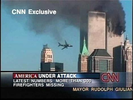 Kuvakaappaus CNN:n lähetyksestä 11.9.2001.