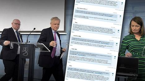Elinkeinoministeri Olli Rehn (kesk) ja oikeus- ja työministeri Jari Lindström (vas) ja ulkomaankauppa- ja kehitysministeri Lenita Toivakka kertoivat eilens kehysriihessä sovituista yrittäjyyttä edistävistä ja työllisyyttä vahvistavista toimista. Uutinen kirvoitti lukijoilta yli tuhat kommenttia.