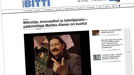 Markku Alasen pitkäaikainen pääkirjoituskuva koristaa Mikrobitin verkkosivulla olevaa muistokirjoitusta.