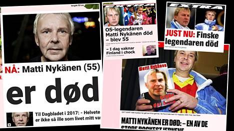 Matti Nykänen oli erittäin tunnettu urheilija hiihtolajien emämaassa Norjassa sekä Ruotsissa. Olympiavoittajan uutisointi nousi skandinaavisten lehtien pääuutiseksi.
