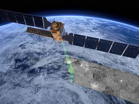 Taiteilijan näkemys Sentinel-satelliitista.