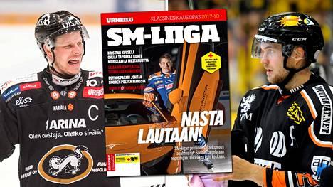 Alkavalla kaudella eniten tienaa Kärppien Lasse Kukkonen (vas.). Viiden kärkeen mahtuu myös HIFK:n Jarkko Malinen.