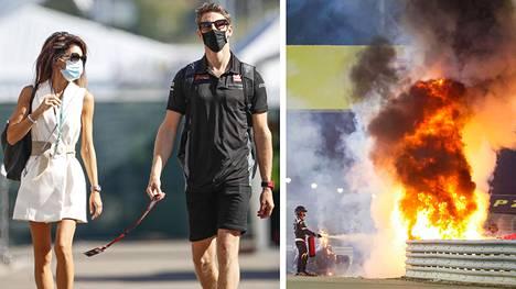 Romain Grosjean vaimonsa Marion Jolles Grosjeanin kanssa F1-varikolla Italiassa syyskuussa 2020. Pariskunta avioitui vuonna 2012.