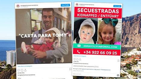 Anna, Olivia ja Tomas Gimeno katosivat Teneriffalla 27. huhtikuuta.