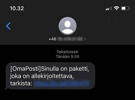 Huijausviesti tulee suomeksi.