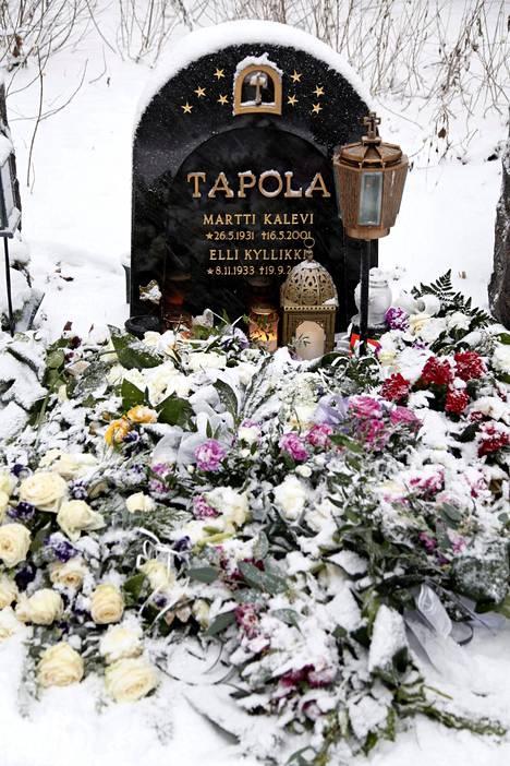 Mervi Tapolan uurna on laskettu Tapolan sukuhautaan Tampereen Kalevankankaan hautausmaalla.